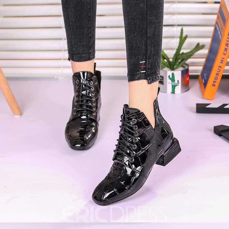 Ericdress Plain Round Toe Lace-Up Women's Boots