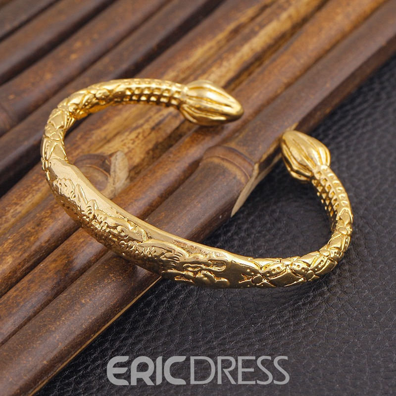 Ericdress Creative 18K Gold Plating Dragon Carved Women's Open Bracelet
