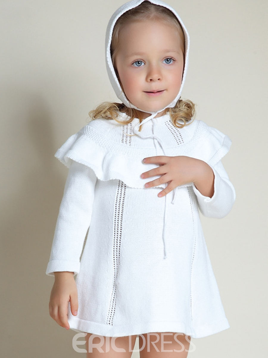 Ericdress Plain Falbala Hollow Baby Girl's Knitting Dress