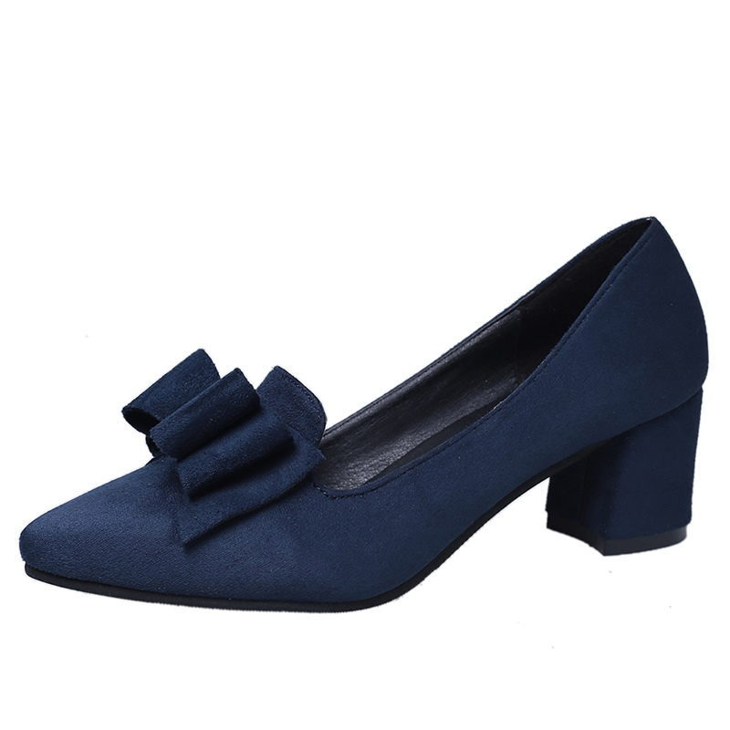 Ericdress Bowknot Plain Slip-On Chunky Heel Pumps