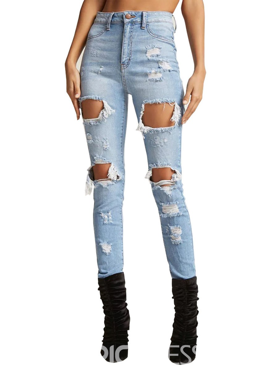 Ericdress Denim Washable Women's Ripped Jeans