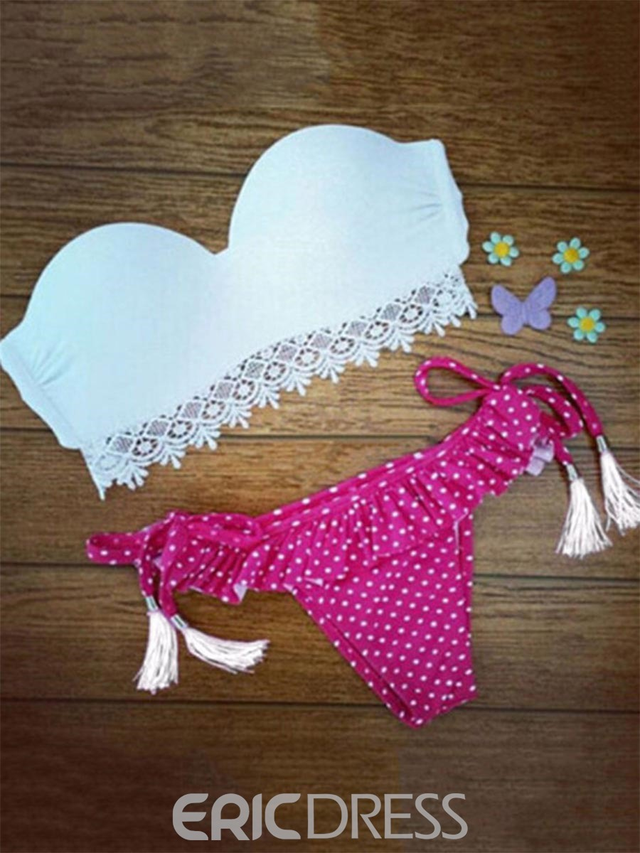 Ericdress Lovely Polka Dots Pleated Bikini Set