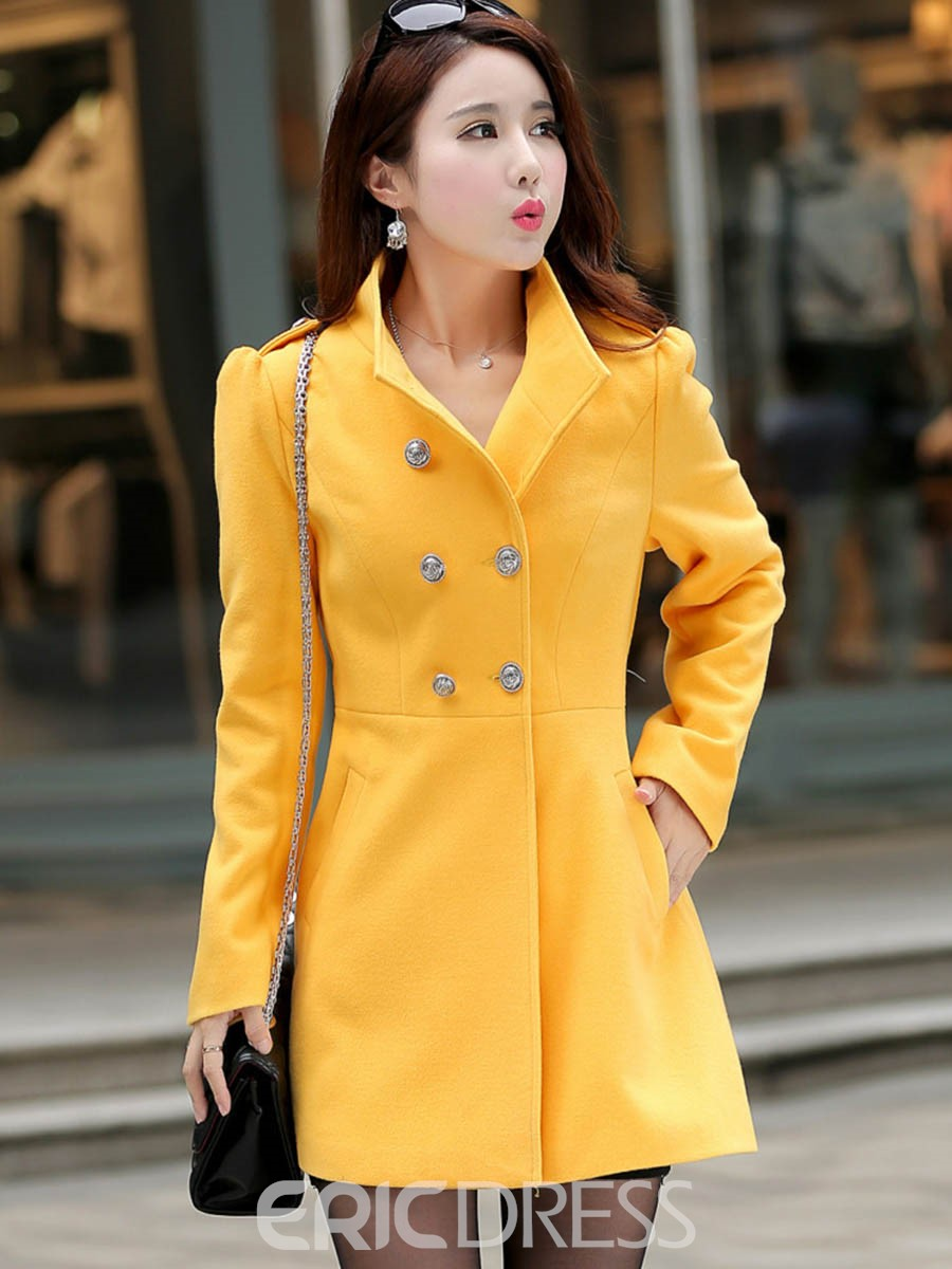 Ericdress Plain Slim Double-Breasted Mid-Length Coat