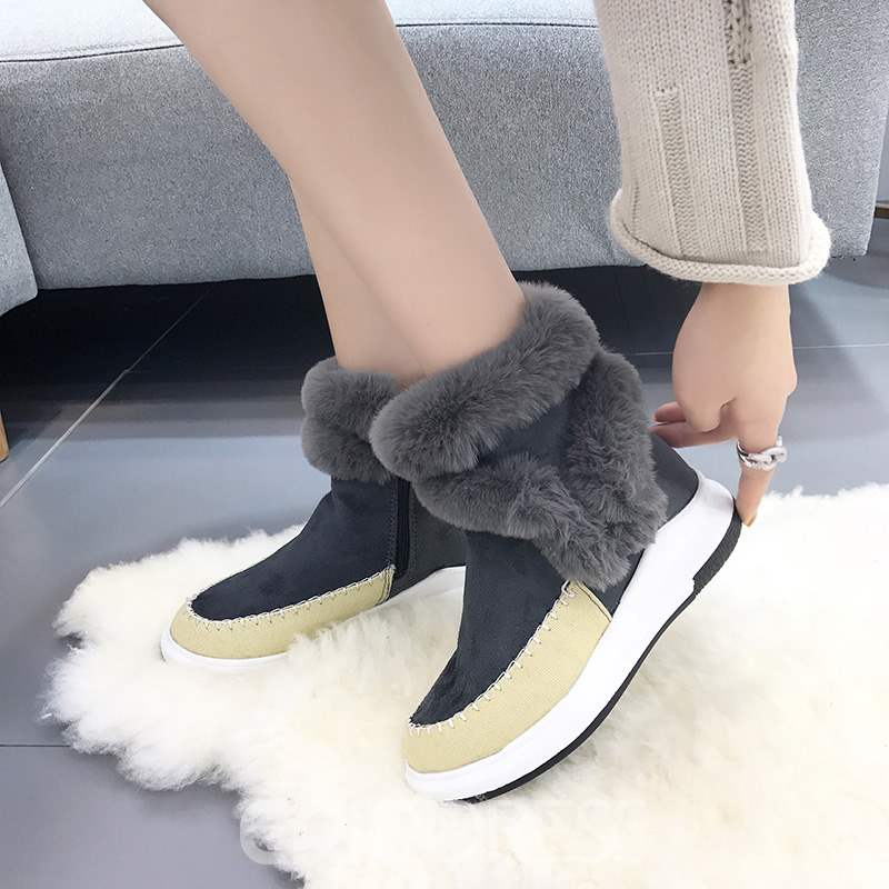 Ericdress Fur Patchwork Plain Women's Flat Boots