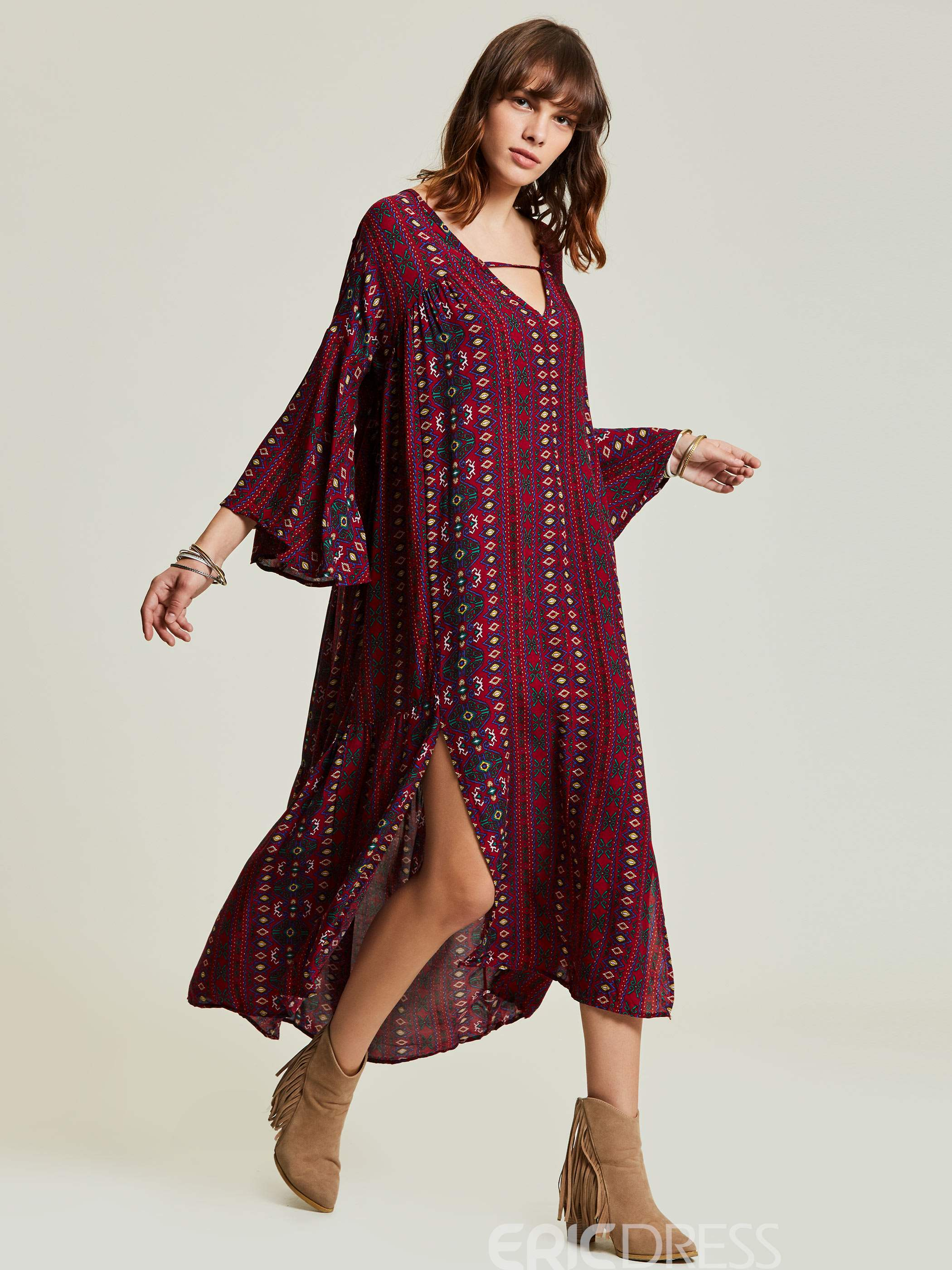 V-Neck Floral Flare Sleeve Women's Maxi Dress