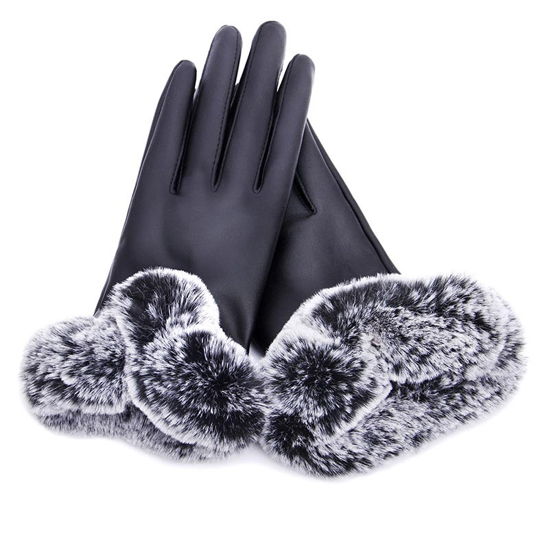 Ericdress Fashionable Touch-Screen PU Hair Ball Women's Gloves