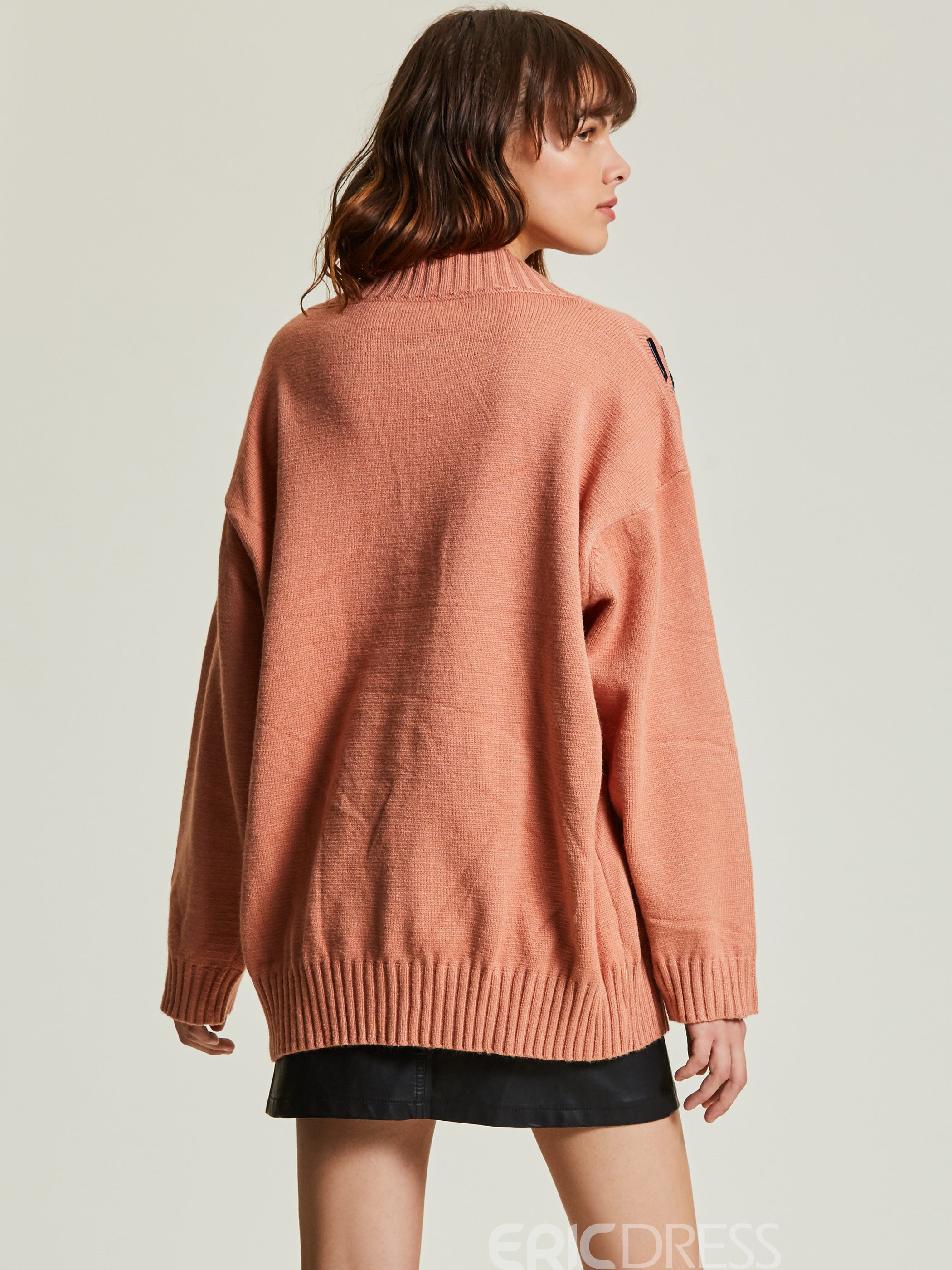 Ericdress Loose V-Neck Plain Pullover Women's Sweater