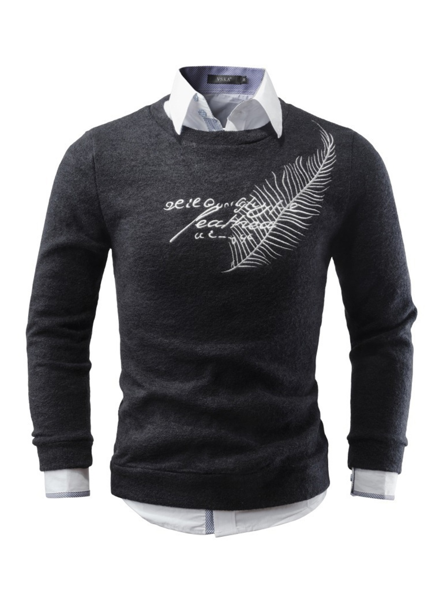 Ericdress Crew Neck Jacquard Men's Sweater
