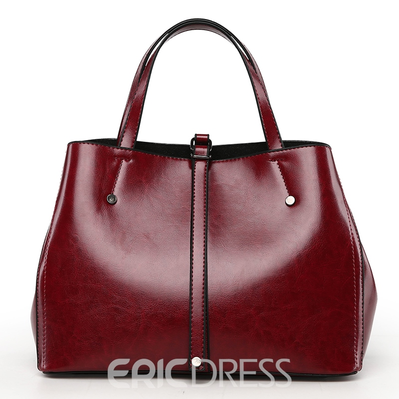 Ericdress Concise Solid Color Hobos Handbag