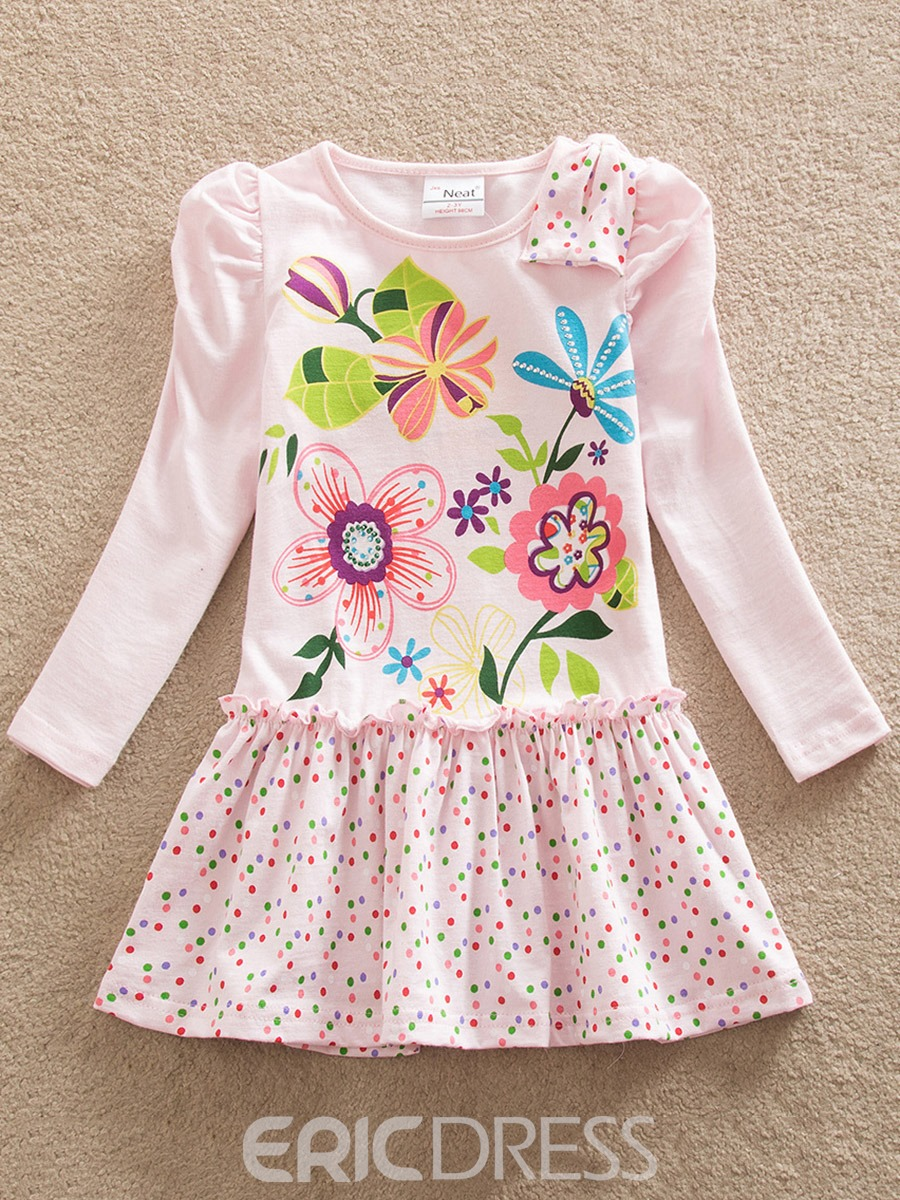 Ericdress 3D Cartoon Flower Print Polka Dots Baby Girl's Dress