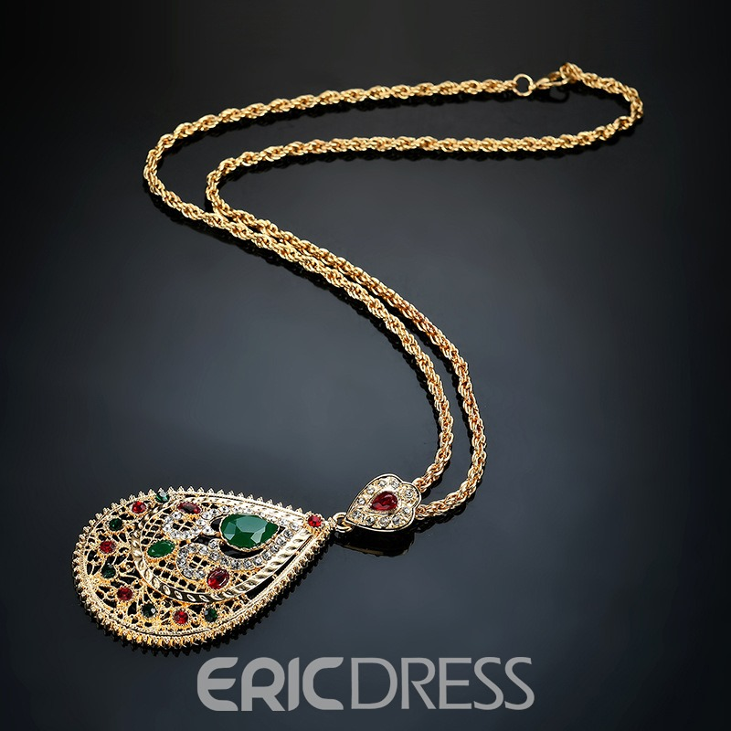 Ericdress Morocco Style Ruby Emerald Pendant Necklace