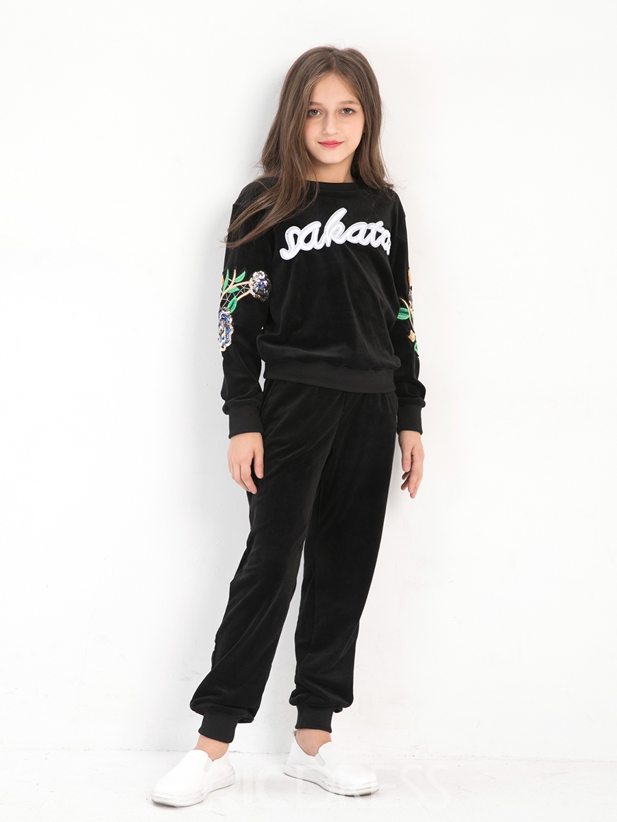 Ericdress Chic Letter&Flower Embroidery Girl's Outfit