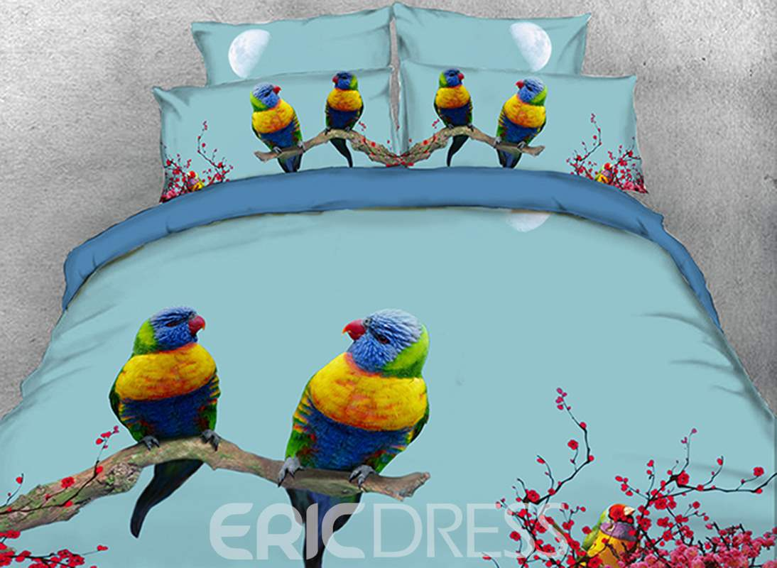 Vivilinen 3D Parrots and Plum Blossoms Printed 4-Piece Bedding Sets/Duvet Covers