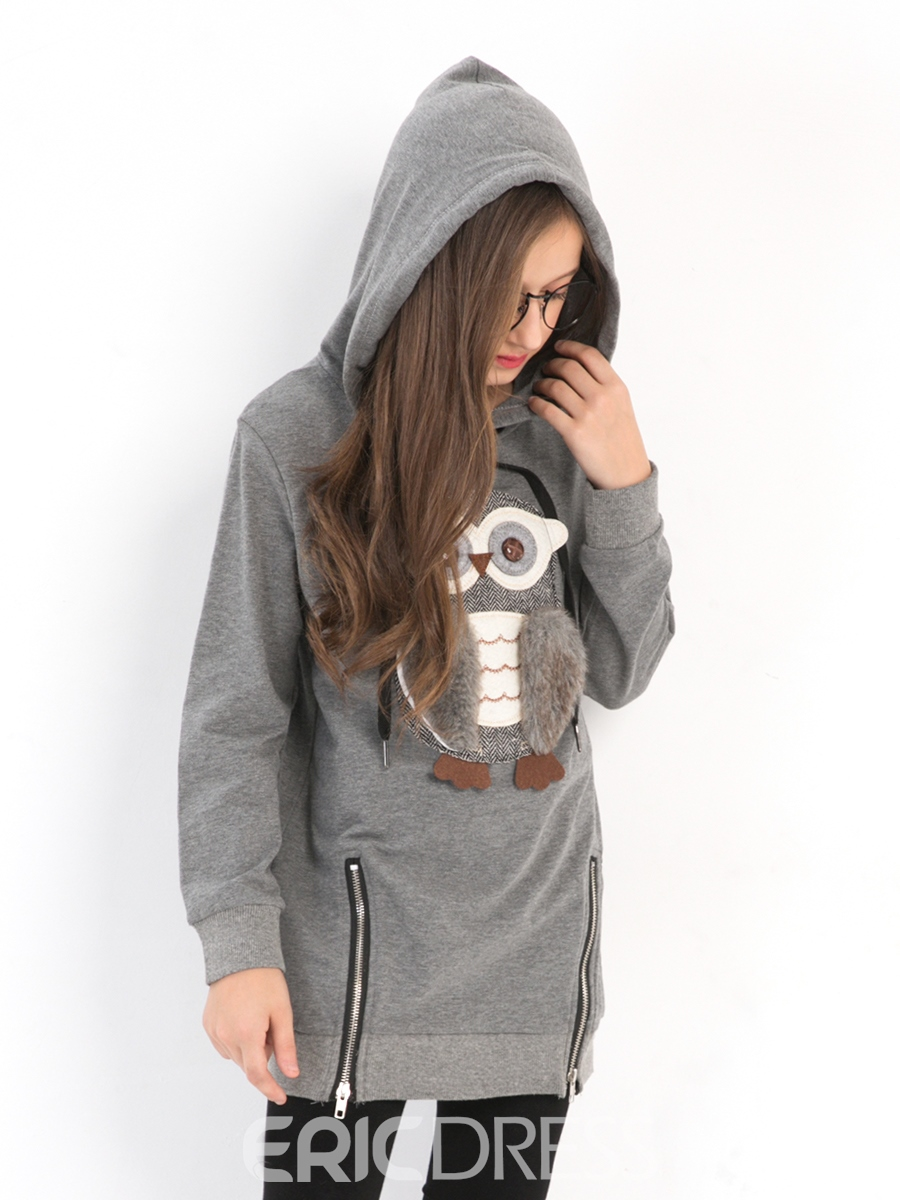 Ericdress Owl Print Hooded Mid-Length Girl's Sweater