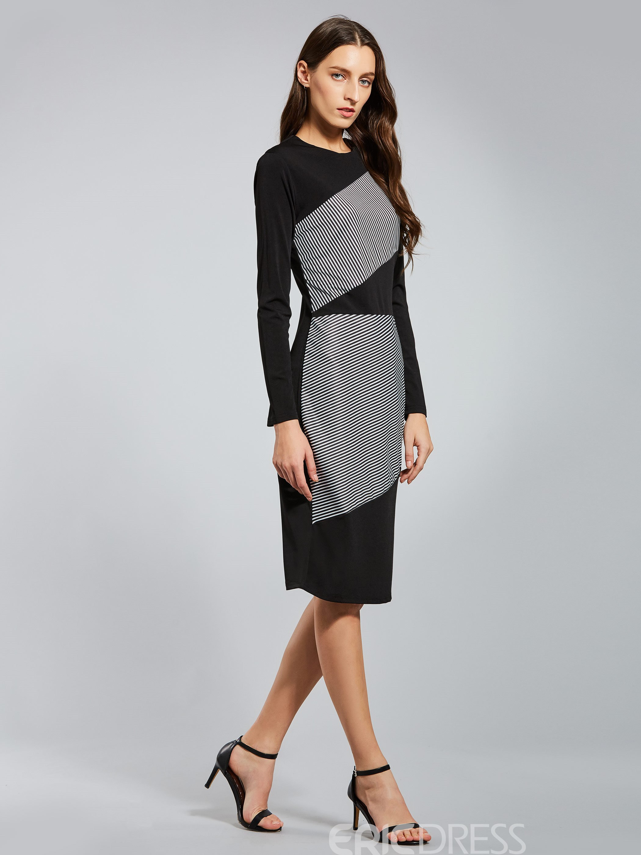 Ericdress Long Sleeve Stipe Color Block Pencil Bodycon Dress