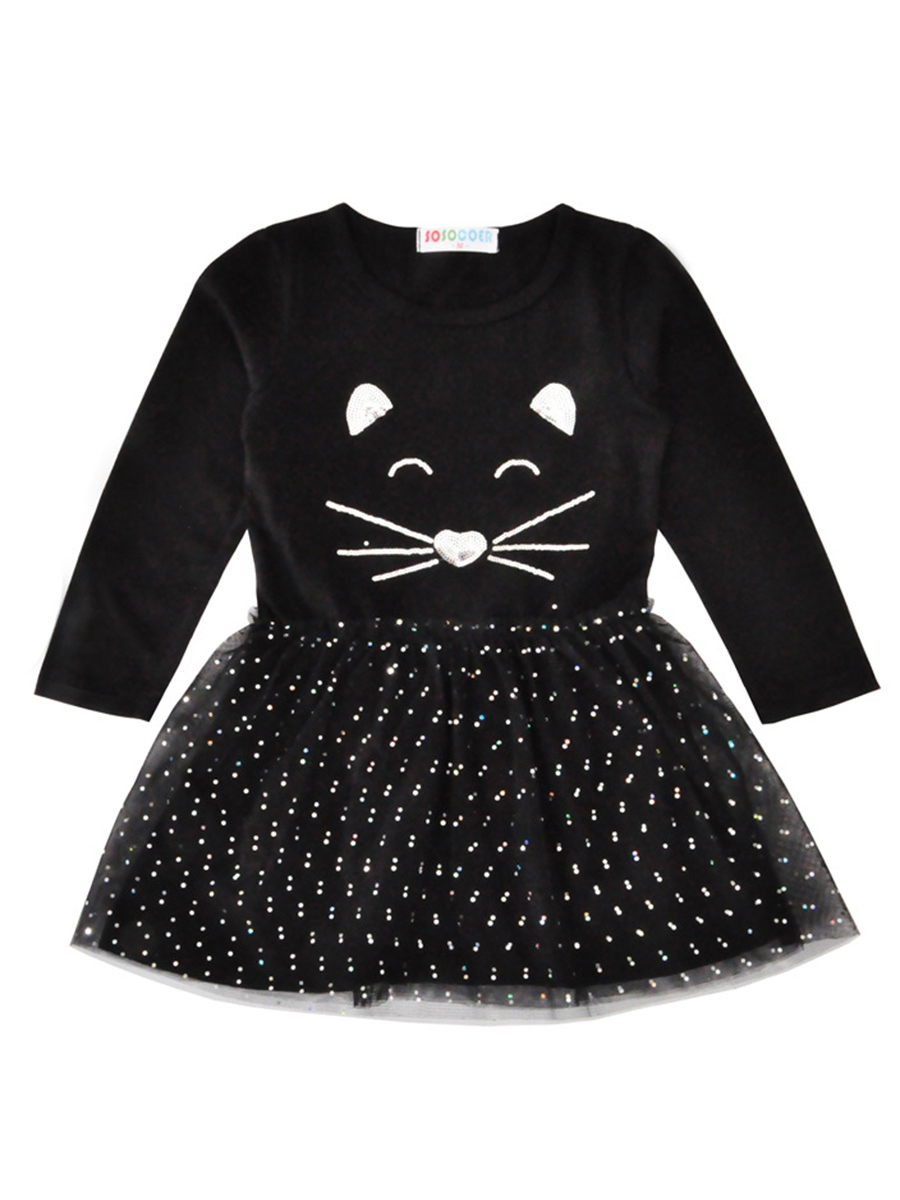 Ericdress Cat Face Sequins Polka Dots Mesh Baby Girl's Dress