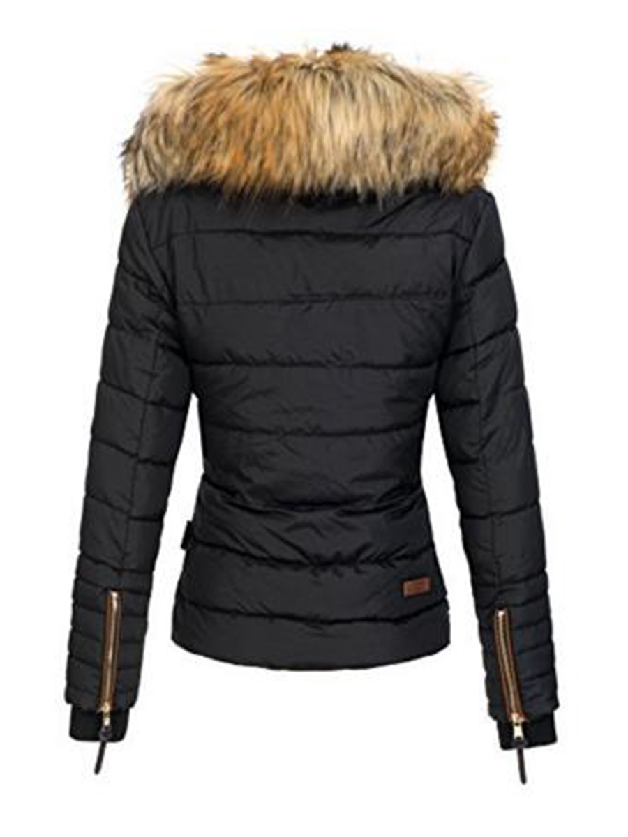 Ericdress Slim Faux Fur Zipper Jacket