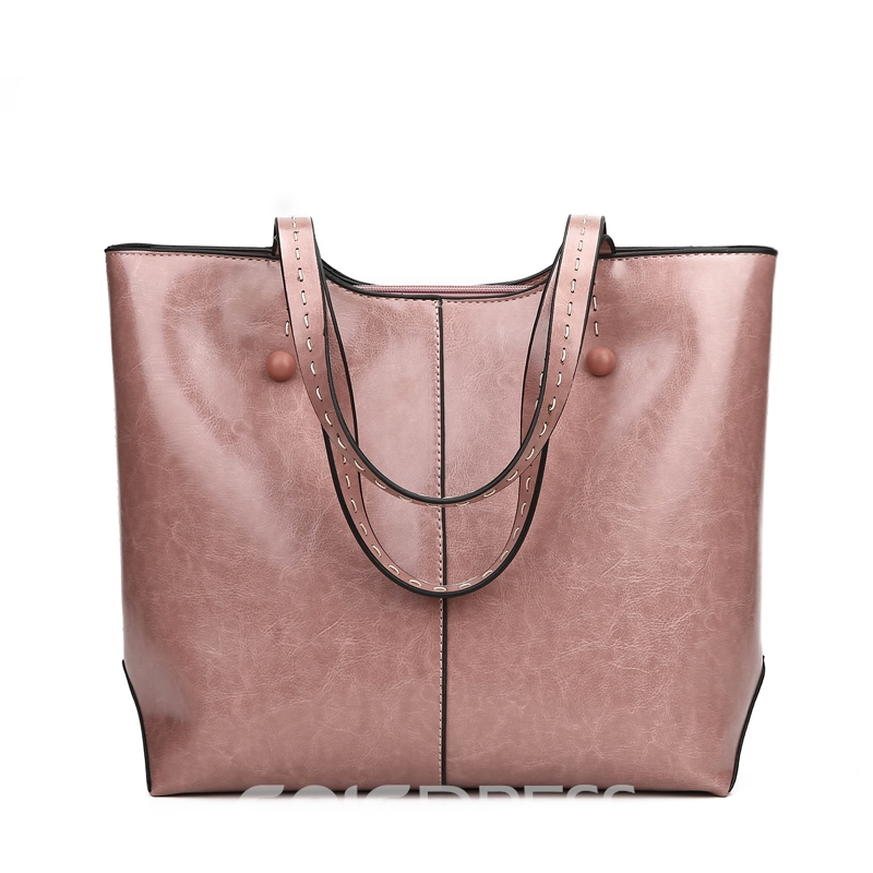 Ericdress Solid Color Soft PU Zipper Shoulder Bag