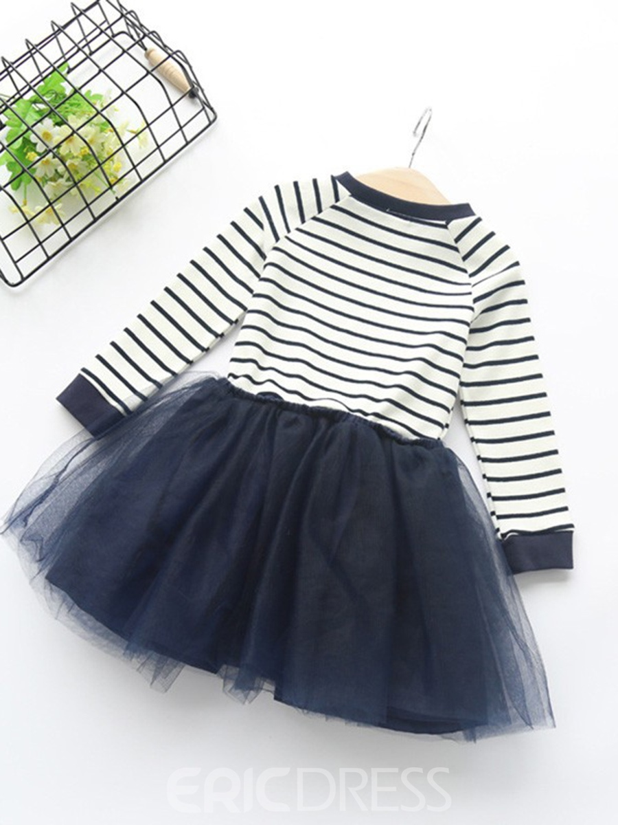 Ericdress Stripe Mesh Patchwork Round Neck Girl's Dress