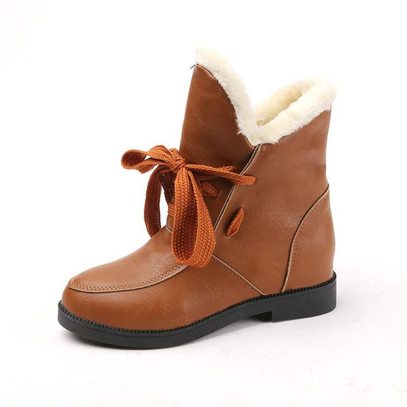 Ericdress Fuzzy Plain Lace-Up Women's Snow Boots