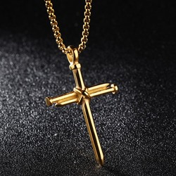 Ericdress Punk Style Cross Pendant Mens Necklace