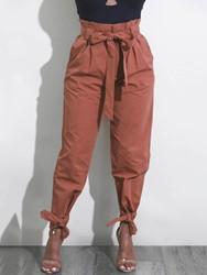 Womens Clothing Bowknot Loose Plain Pants thumbnail