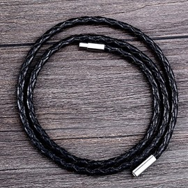 Ericdress Black Weave Leather Rope Men's Bracelet