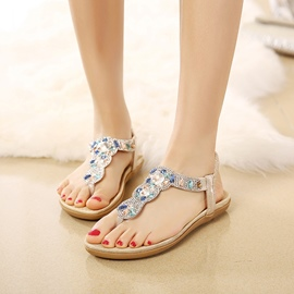 Ericdress Rhinestone Thong Strappy Plain Flat Sandals