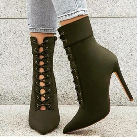 Ericdress Hollow Cross Strap Plain High Heel Boots