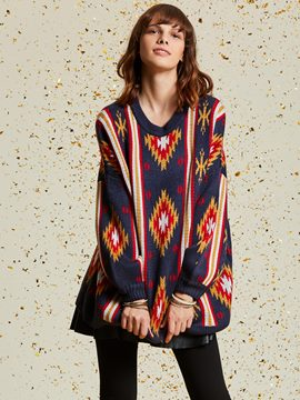 Color Block Geometric Pattern Women's Sweater