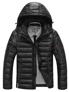 Ericdress Hooded Solid Color Men's Winter Jacket