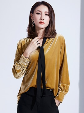 Ericdress Plain V-Neck Velvet Shirt