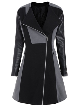 Ericdress Plus-Size A Line Leather Mid-Length Coat