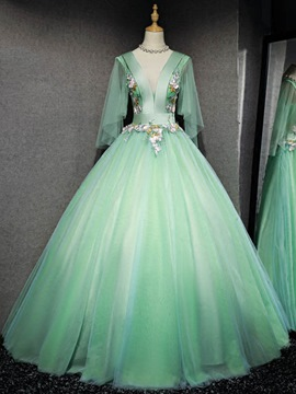 Ericdress V-Neck Appliques Flowers Long Sleeves Quinceanera Dress