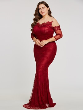 Ericdress Plus Size Long Sleeves Mermaid Evening Dress