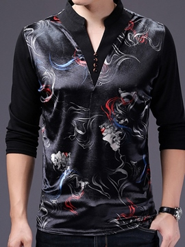 Ericdress Stand Collar Long Sleeve Print Men's T-Shirt