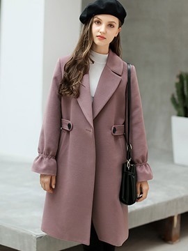 Ericdress Notched Lapel Plain Long Pocket Coat