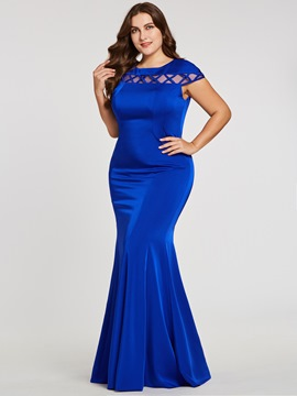 Ericdress Plus Size Cap Sleeves Mermaid Eveing Dress