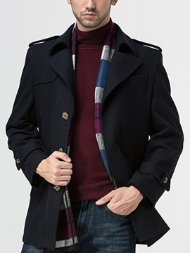 Ericdress Notched Lapel Single-Breasted Men's Woolen Coat