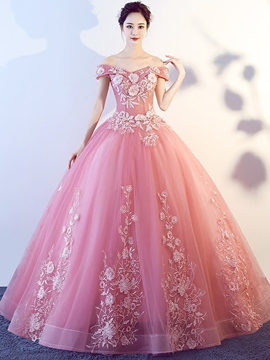 Ericdress Off-the-Shoulder Short Sleeves Appliques Quinceanera Dress