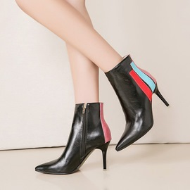 Ericdress Chic Color Block Pointed Toe Stiletto Heel Boots
