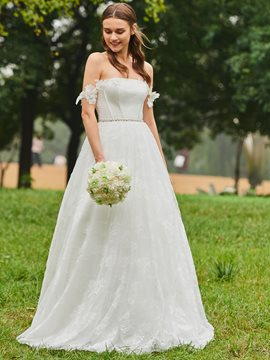Ericdress Off the Shoulder A Line Lace Garden Wedding Dress