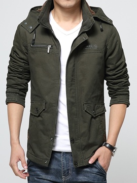 Ericdress Hooded Pockets Zipper Men's Jacket