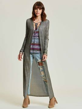 Ericdress Plain Thin V-Neck Long Jacket