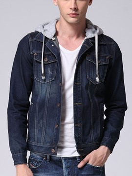 Ericdress Hooded Patchwork Pockets Men's Denim Jacket