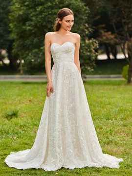Ericdress Sweetheart A Line Lace Long Sleeves Wedding Dress