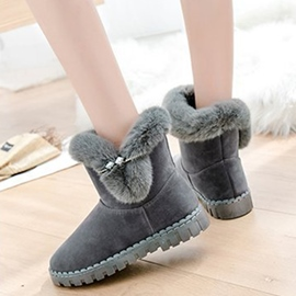 Ericdress Rhinestone Slip-On Plain Women's Snow Boots
