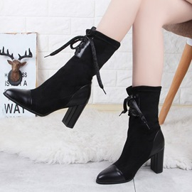 Ericdress Winter&Fall Lace-Up Patchwork High Heel Boots