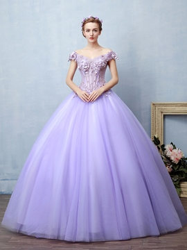 ericdress applikationen off-the-shoulder kragen hülsen blumen quinceanera kleid