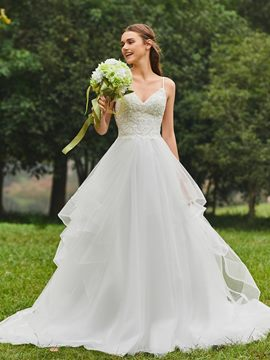 Ericdress Sweetheart Ball Gown Appliques Tulle Wedding Dress